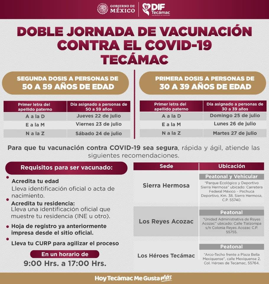 Calendario de vacunación en Tecámac
